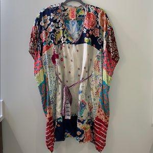 Johnny Was 100% Silk Multi Print Tunic